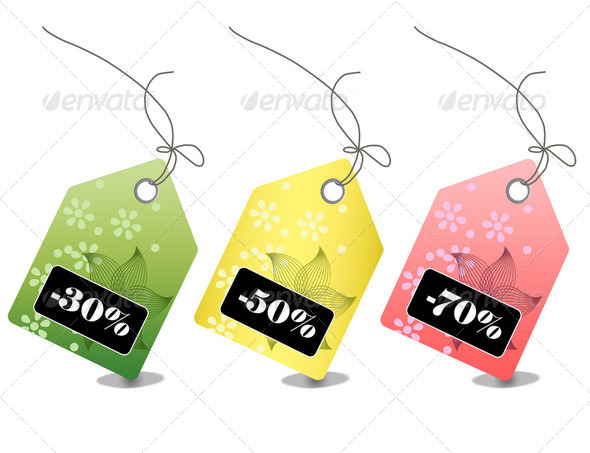 Colorful sale and discount tags  - Stock Photo - Images