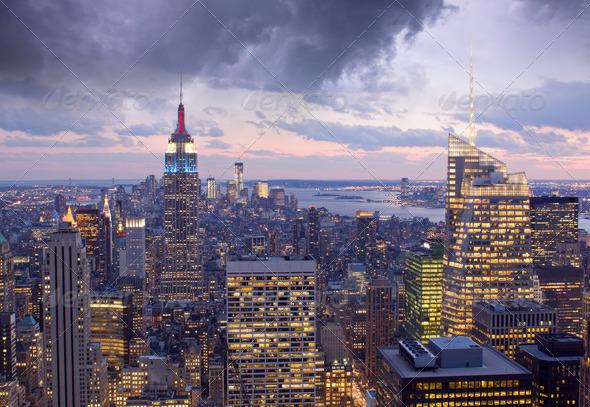 PhotoDune Illuminated Buildings in the Night New York City 3938449