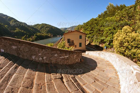 PhotoDune Devils Bridge Fisheye View Lucca 3938482