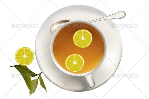 Healthy green tea cup with tea leaves - Stock Photo - Images