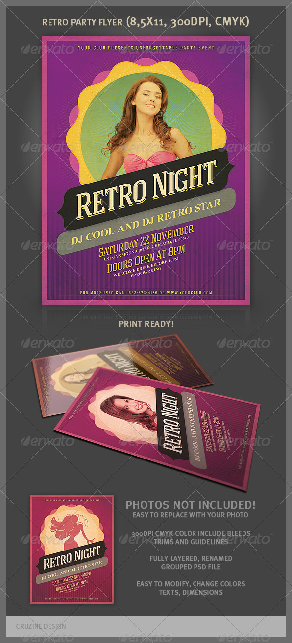 GraphicRiver Cool Retro Party Flyer Template 3328011