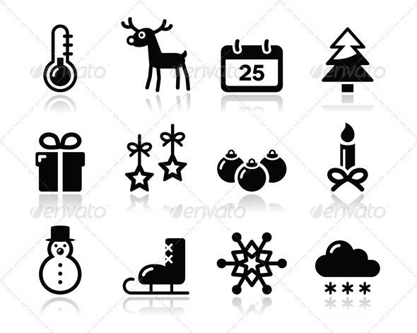 GraphicRiver Christmas winter black icons set 3328367