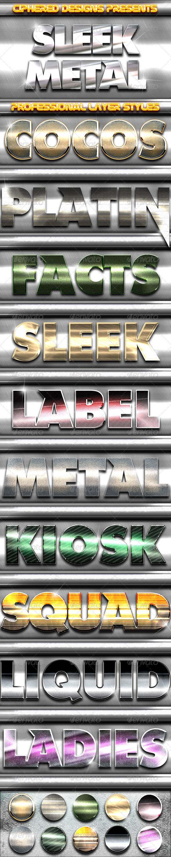 GraphicRiver Sleek Metal Professional Layer Styles 3309278