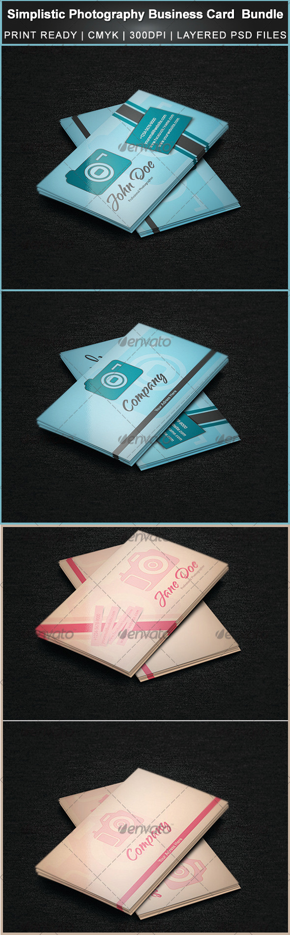 GraphicRiver Simplistic Photography Business Card Bundle 3329340