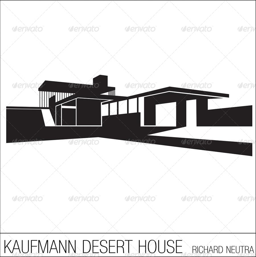 Silhouettes of iconic modern houses buildings objects 01 preview jpg