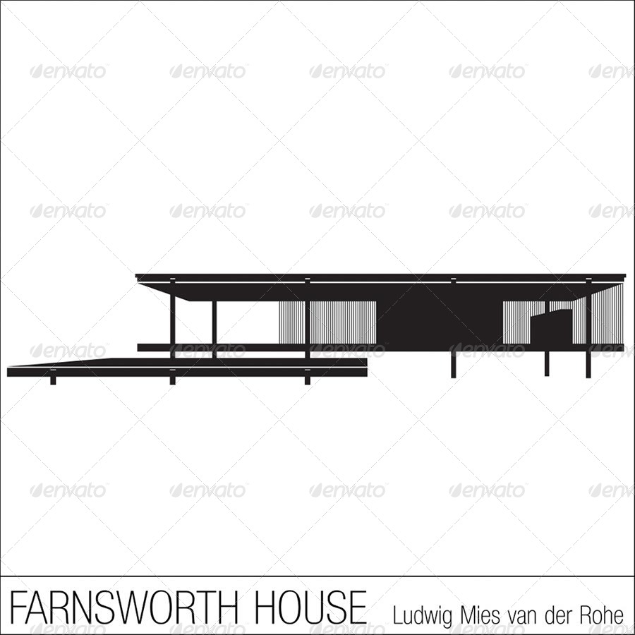 Silhouettes of iconic modern houses buildings objects 01 preview jpg 02 preview jpg 03 preview jpg 04 preview jpg