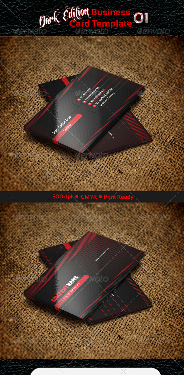 GraphicRiver Business Card Template Dark Edition 01 3329902
