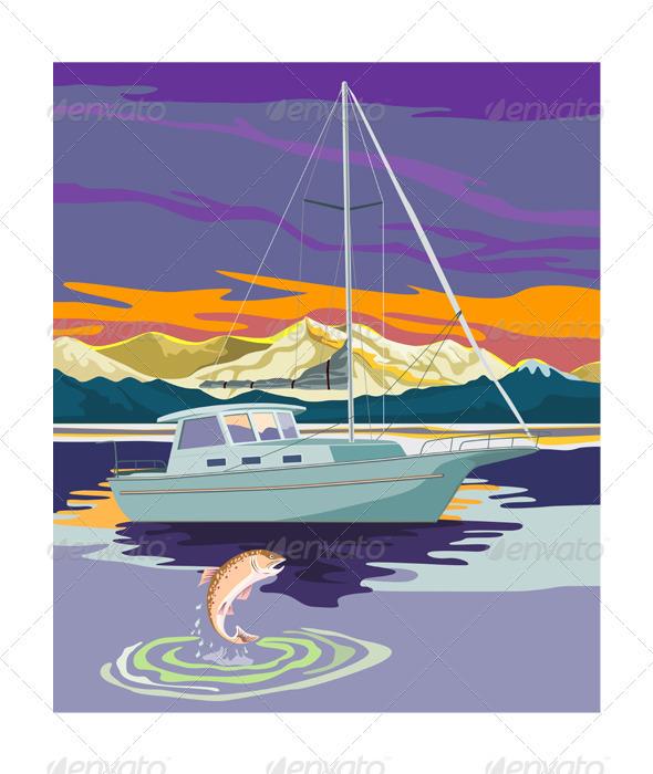 GraphicRiver Sailboat Retro 3331055