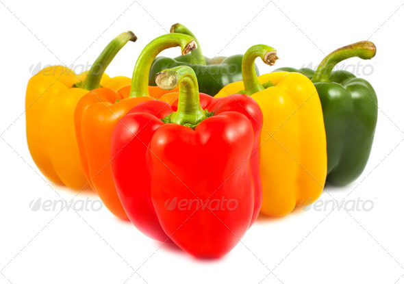Green,red,yellow and orange sweet peppers - Stock Photo - Images