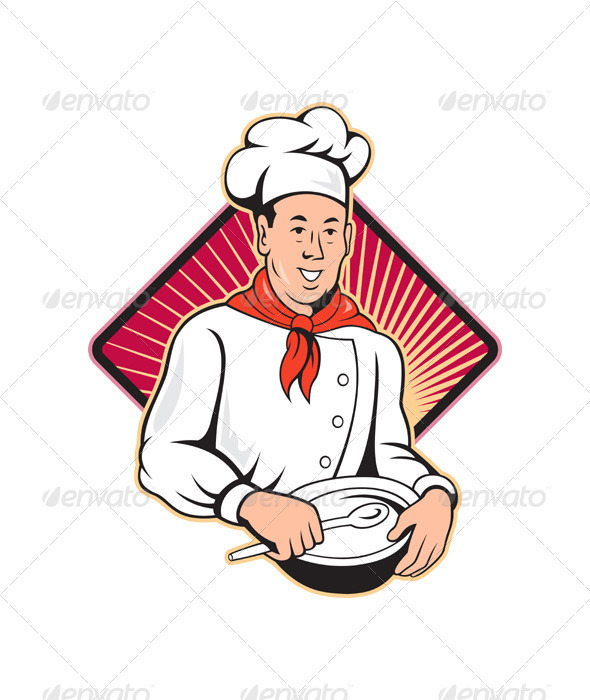 GraphicRiver Chef Cook Baker Mixing Bowl Cartoon 3331063