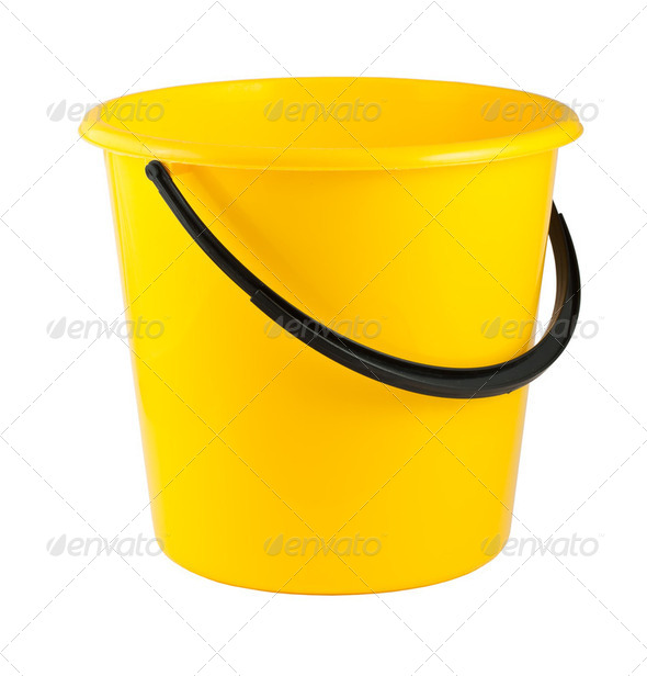 Yellow plastic bucket - Stock Photo - Images