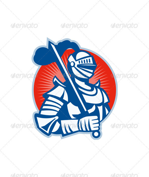 GraphicRiver Knight Full Armor With Sword Retro 3331069