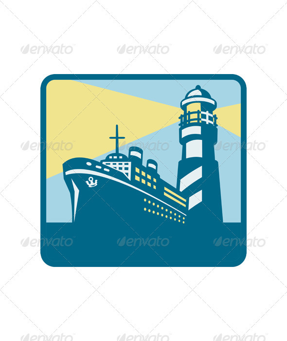 GraphicRiver Passenger Ship Cargo Boat Lighthouse Retro 3331072