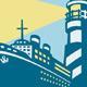 Download Vector Passenger Ship Cargo Boat Lighthouse Retro