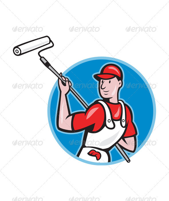 GraphicRiver House Painter With Paint Roller Cartoon 3331113