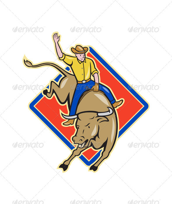 GraphicRiver Rodeo Cowboy Bull Riding Cartoon 3331151