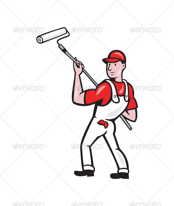 GraphicRiver House Painter With Paint Roller Cartoon 3331166