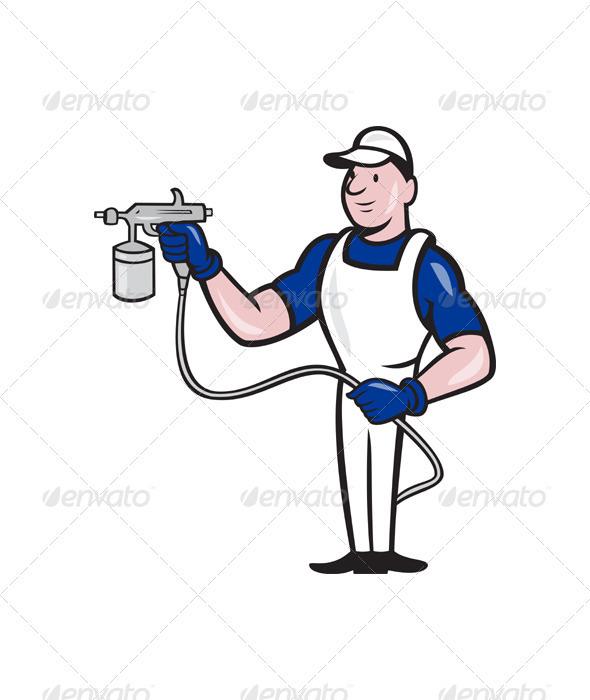 GraphicRiver Spray Painter Spraying Gun Cartoon 3331167