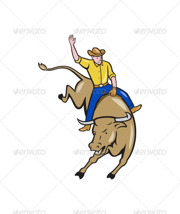 GraphicRiver Rodeo Cowboy Bull Riding Cartoon 3331168
