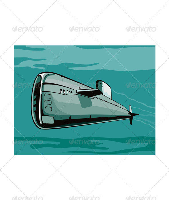 GraphicRiver Submarine Boat Retro 3331253