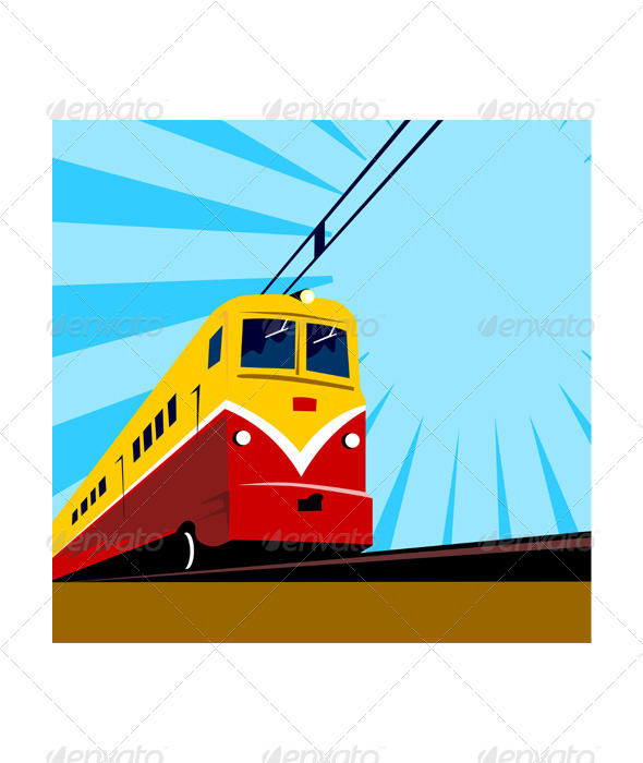 GraphicRiver Electric Passenger Train Retro 3331264