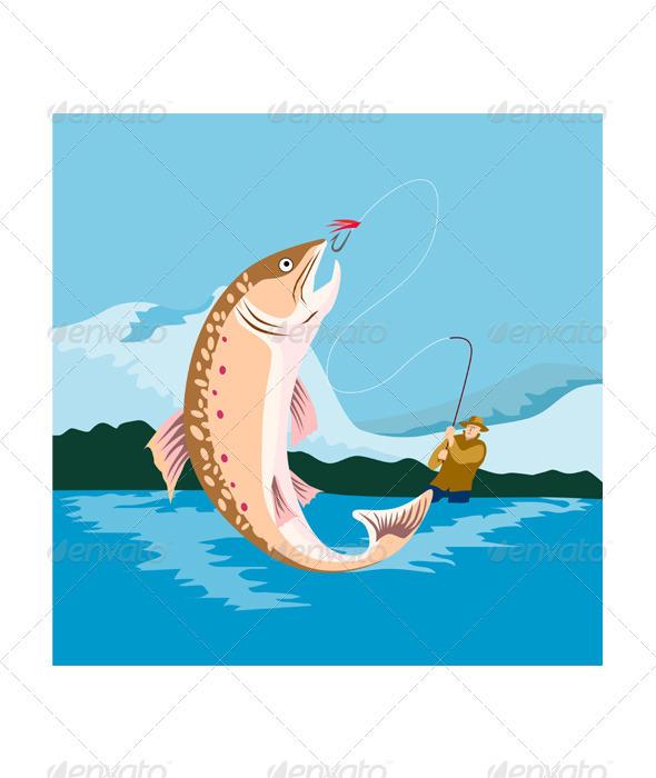 GraphicRiver Trout Fish Retro 3331271
