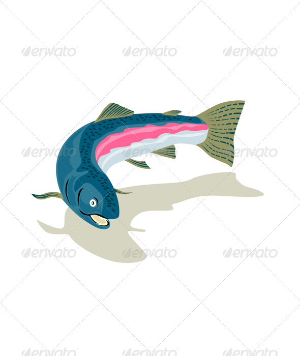 GraphicRiver Trout Fish Retro 3331272