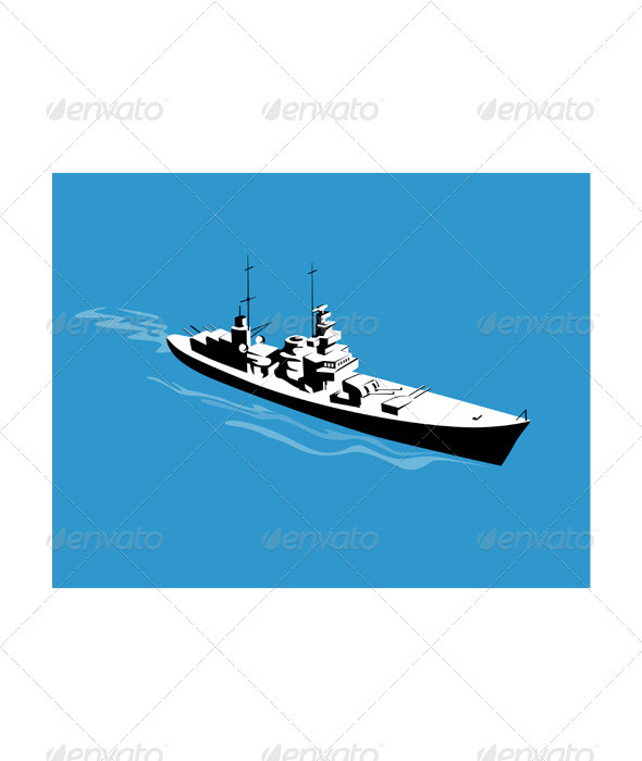 GraphicRiver World War Two Battleship Warship Cruiser Retro 3331286