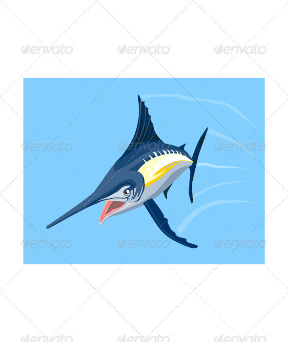 GraphicRiver Blue Marlin Fish Jumping Retro 3331783