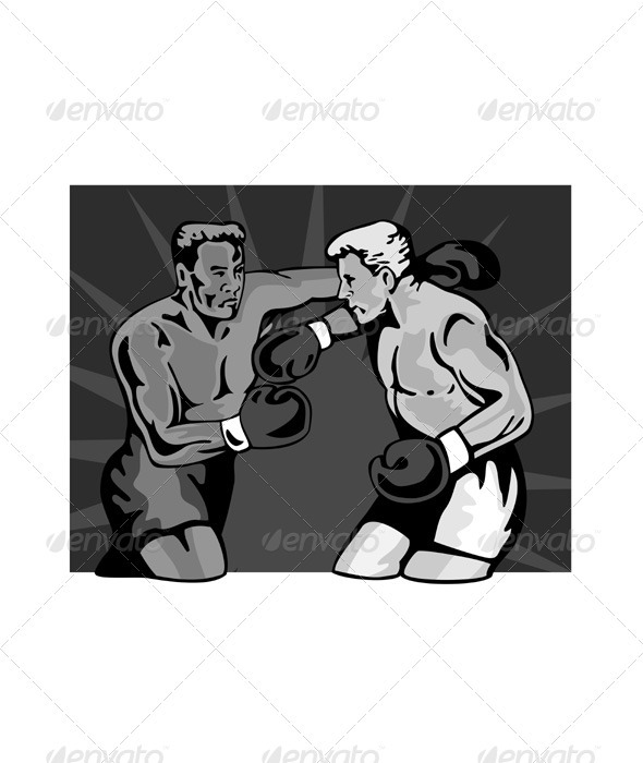 GraphicRiver Boxer Boxing Knockout Punch Retr 3331784