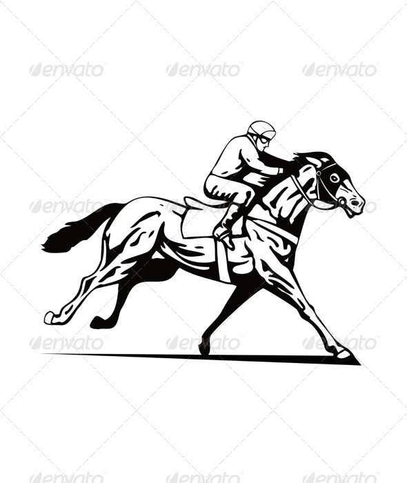 GraphicRiver Horse and Jockey Racing Retro 3331817