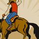 Rodeo Cowboy Riding Bucking Bronco Horse