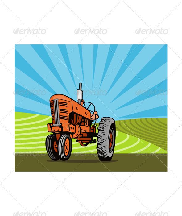 GraphicRiver Vintage Tractor Retro 3331849