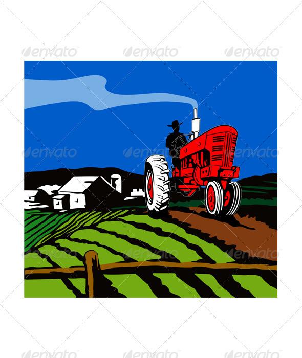 GraphicRiver Vintage Tractor Retro 3331850