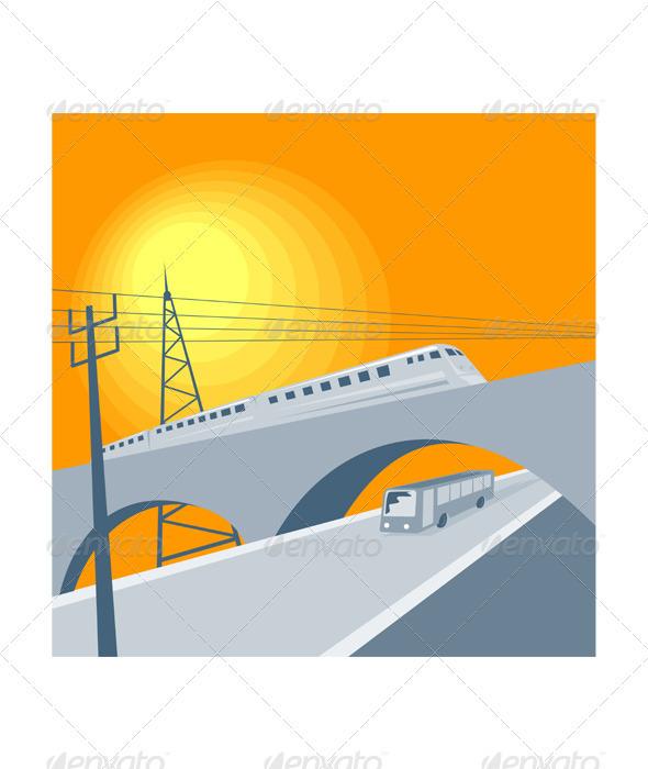 Train Bus Viaduct Retro
