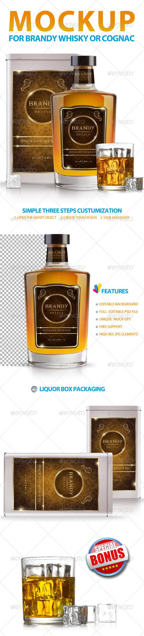 GraphicRiver Brandy Whisky or Cognac Mockup 3331909