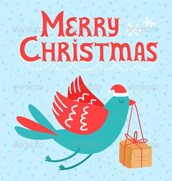 GraphicRiver Merry Christmas Bird 3331994