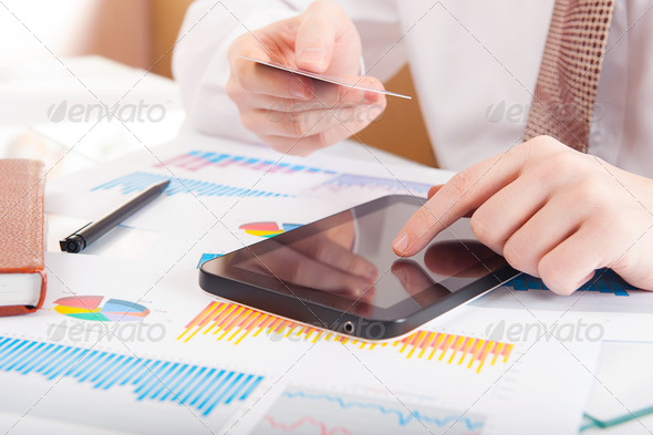 Man working with modern devices - Stock Photo - Images