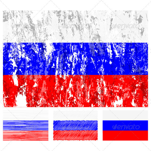 Russia grunge flag set
