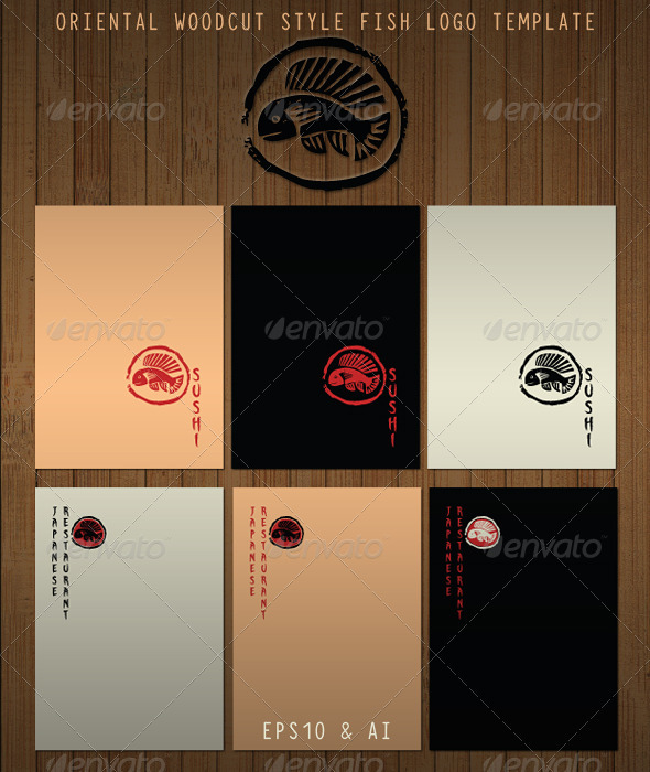 GraphicRiver Oriental Fish in Woodcut Stamp Style 3333037