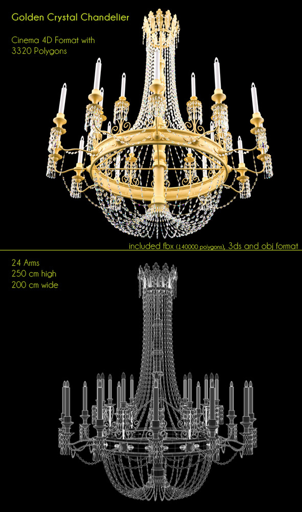 Golden Big Chandelier 24 lights - 3DOcean Item for Sale