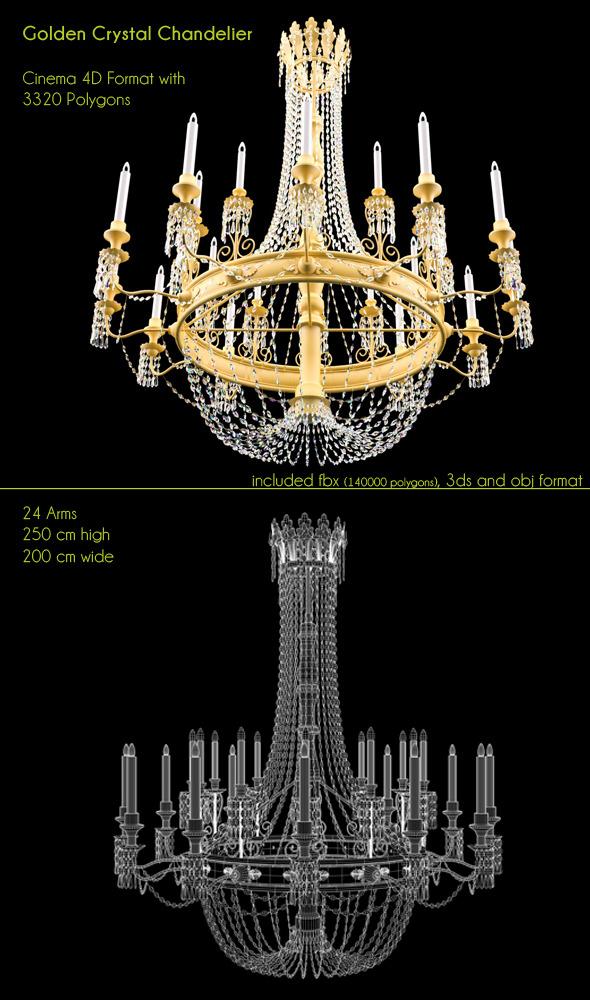3DOcean Golden Big Chandelier 24 lights 3333737
