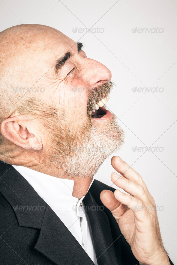 old man laughing - Stock Photo - Images