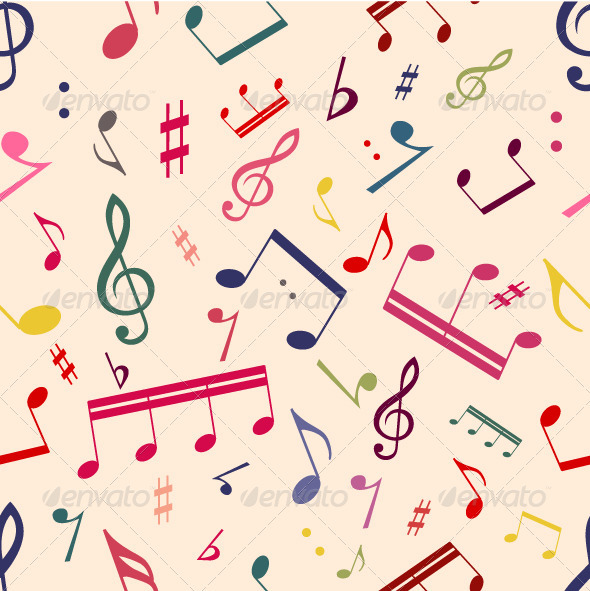 GraphicRiver Musical Notes Seamless Pattern 3335010