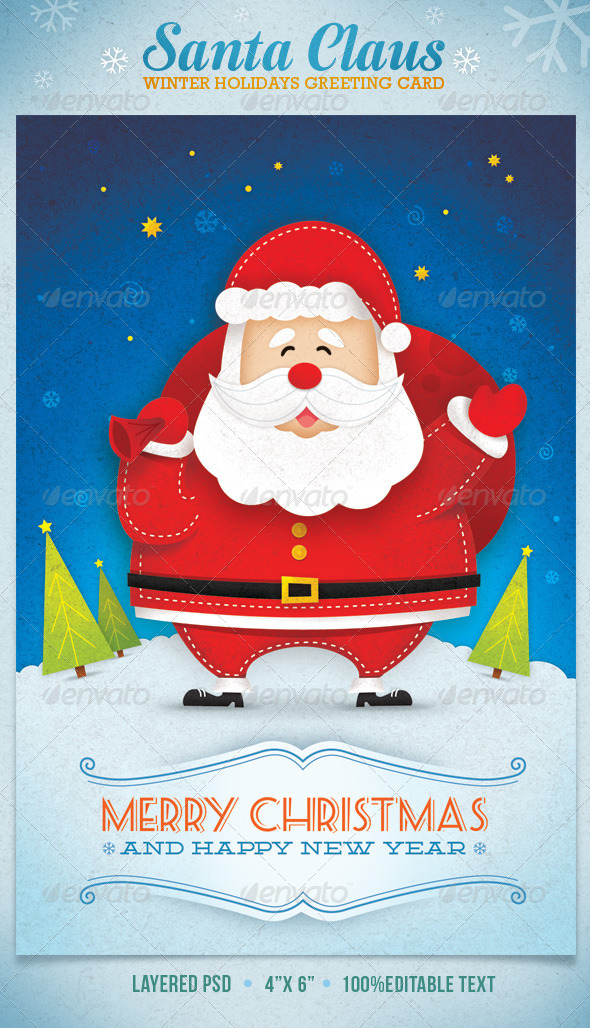 Santa Claus Winter Holidays Greeting Card