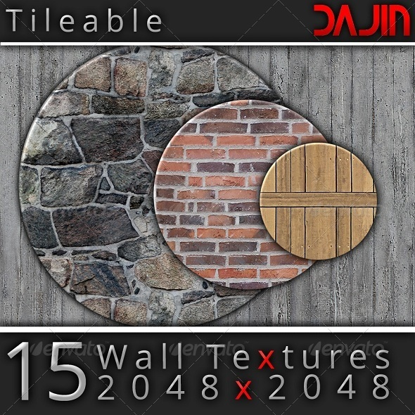 15 Tileable Hi-Res Wall Textures - 3DOcean Item for Sale