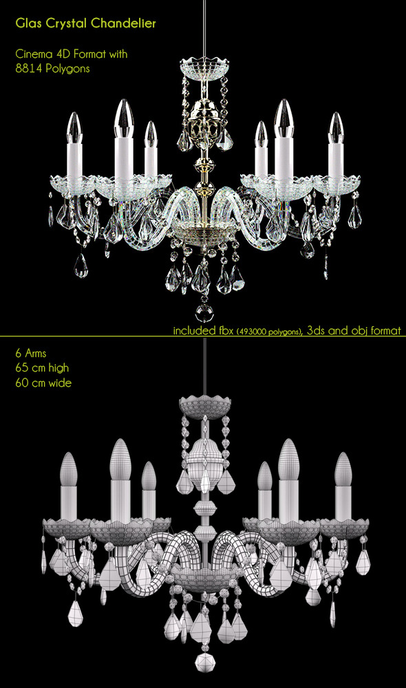 Glas golden Chandelier - 3DOcean Item for Sale