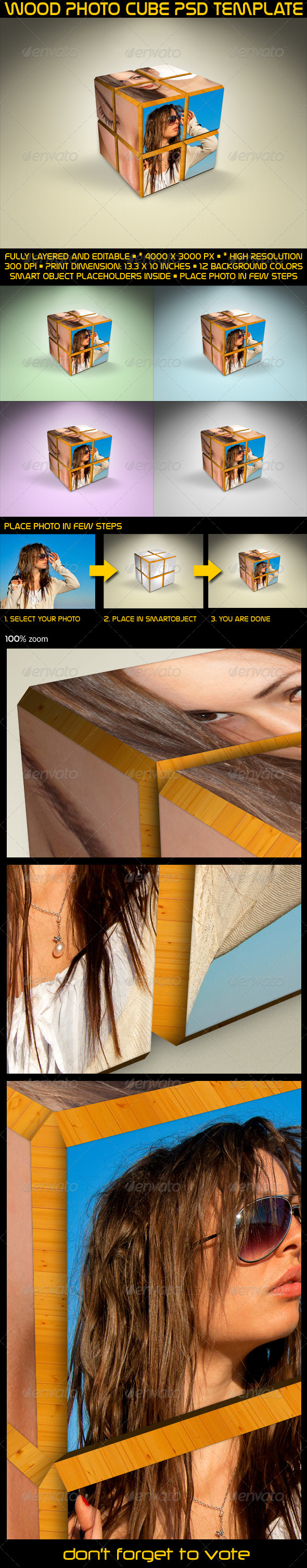 GraphicRiver Wood Photo Cube PSD Template 3336644