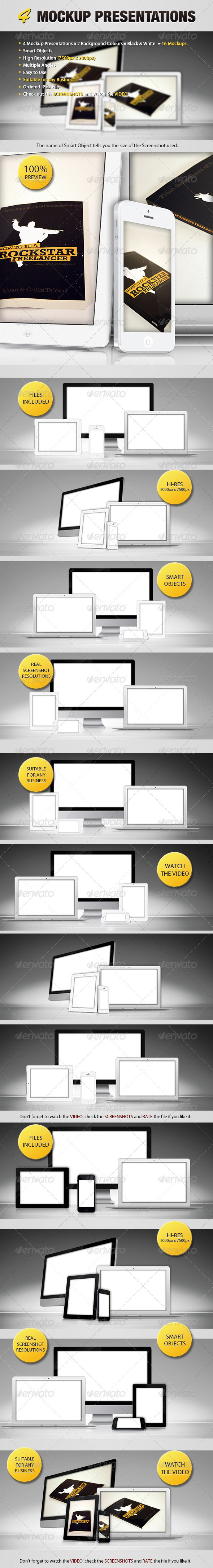 GraphicRiver 4 Mockup Presentations 3296079
