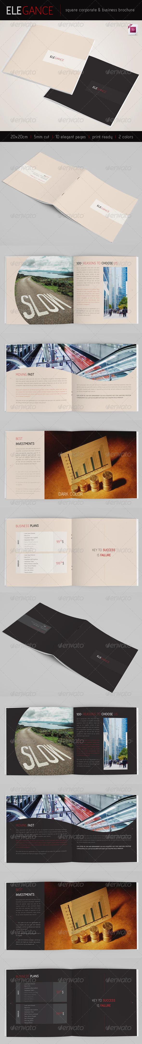 GraphicRiver Elegance Square 10 pages Brochure 2 Colors 3337232